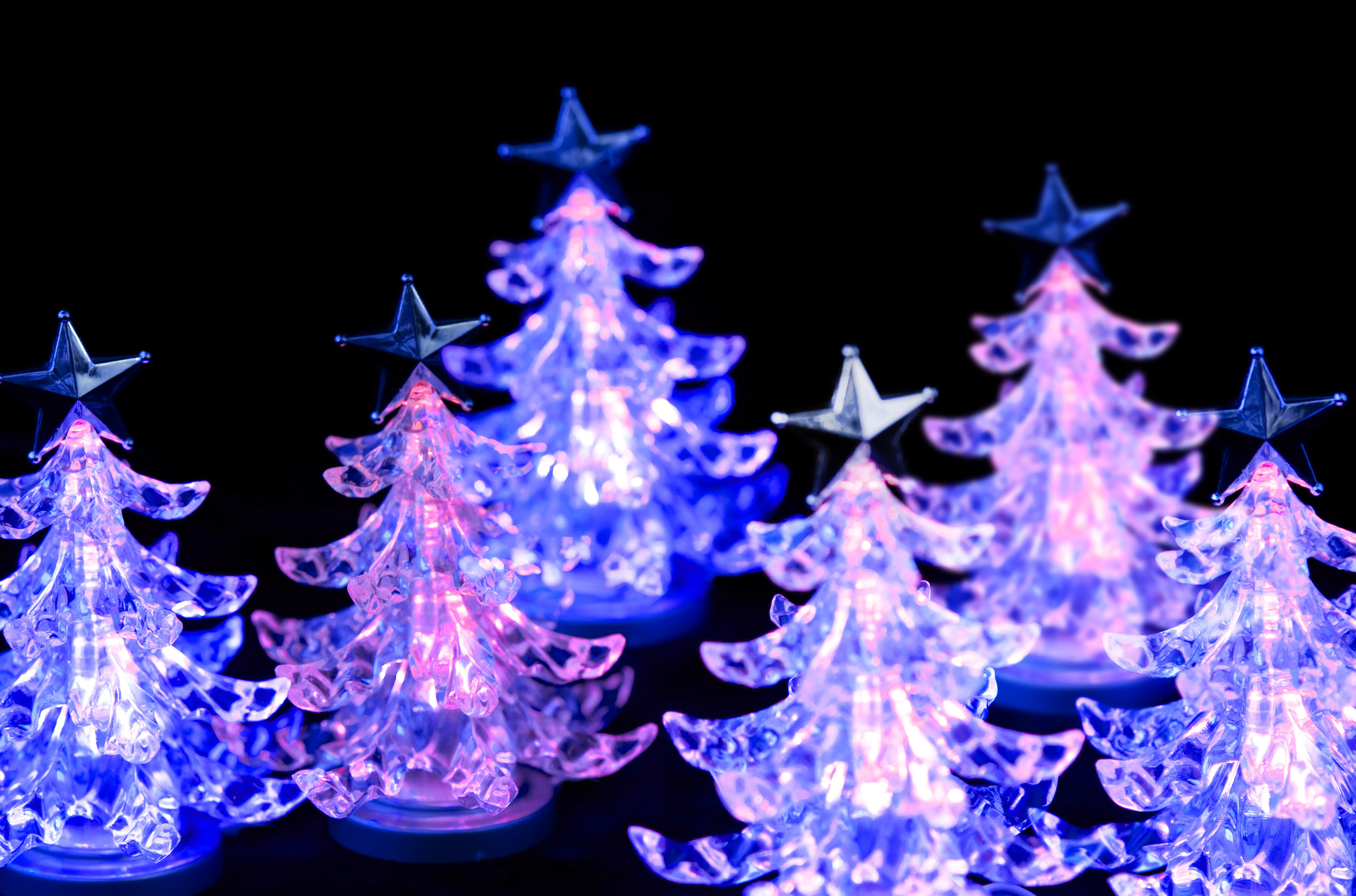 a forest of pink LED christmas trees, glowing on a black background