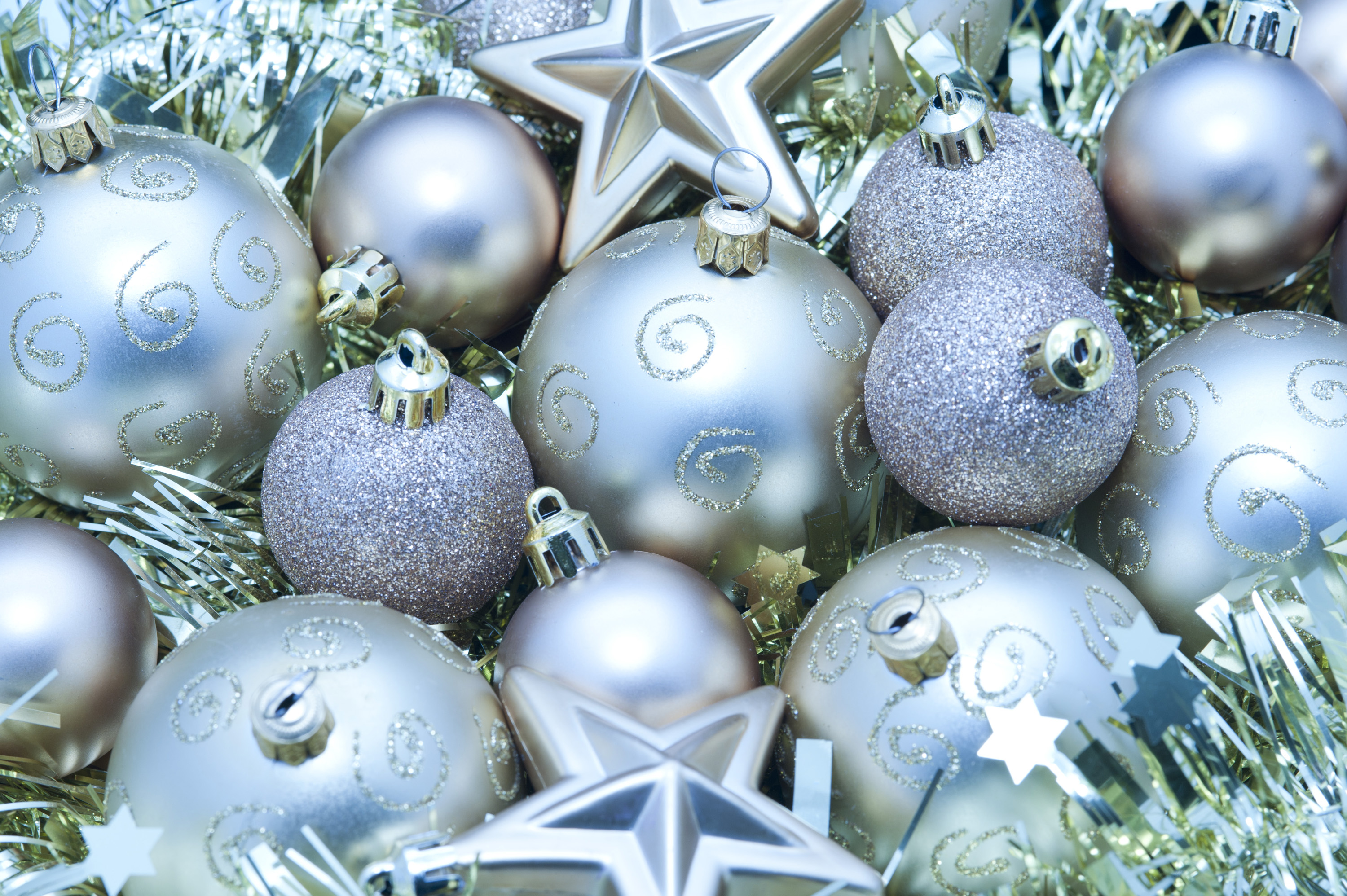 Photo of silver festive decorations free christmas images for Blue and gold christmas