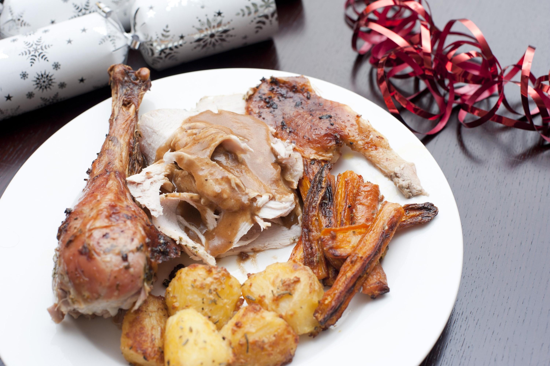 Photo of serving of festive roast turkey with vegetables for Restaurants serving christmas dinner