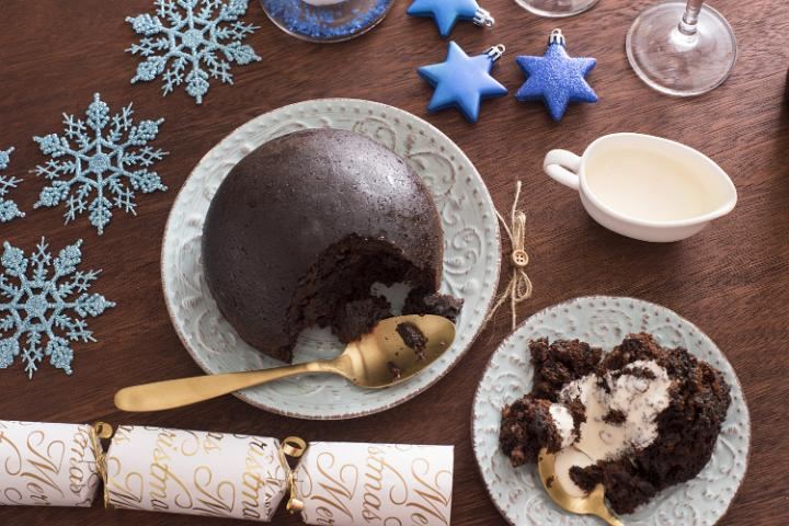 Photo Of Serving Of Traditional Fruity Christmas Pudding